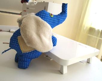 Elephant Soft Toy Sewing Pattern, Stuffed Phant, Blue softie with instructions, PDF Softie