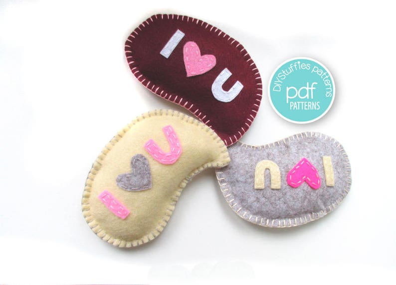 Valentine Felt Gift Sewing Project I Love You Toy PDF instant image 0