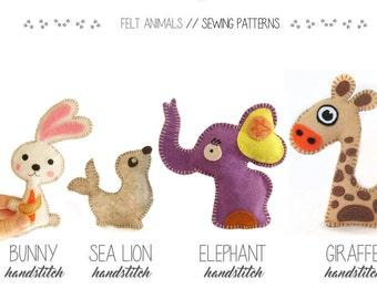 Felt Elephant Rabbit Seal Giraffe Sewing patterns project with instructions, PDF