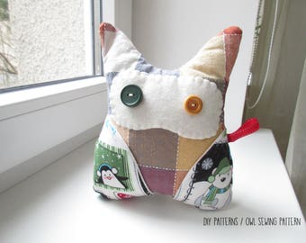 ChristmasOwl softie sewing pattern with instructions, PDF