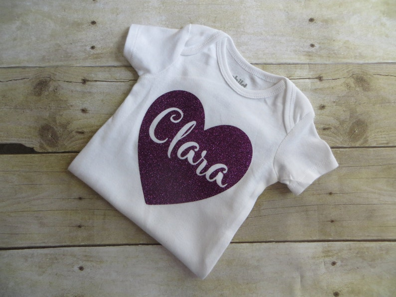 Babys Name Custom Gift Baby Girl Personalized Outfit Heart Baby Girl Clothes