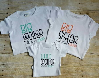 Set of three personalized sibling shirts, Big Brother, Big Sister, Little Brother, Little Sister, sibling shirt for 3, matching shirt set,
