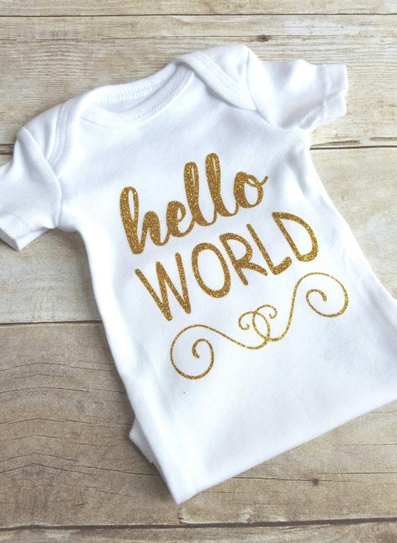 aca381db8 Hello World Bodysuit Coming Home Outfit Newborn Bodysuit | Etsy