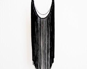 Black on Black Fringe Necklace