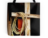 Tote Bag, Photo Bag,Cowboy Cross,Cross Photography,Jesus,Rustic,Western Photo,Cowboy Photography,Roping Photo,Farm Photography,Barn