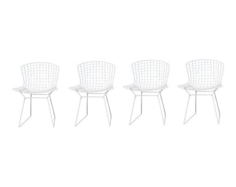 Vintage Knoll White Chairs, Harry Bertoia, Set Of Four