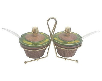 California Pottery Condiment Set, Green Drip Glaze and Faux Bois