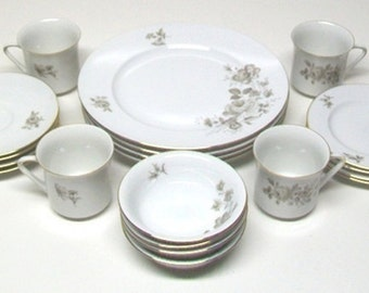Johann Haviland Fine China Dinnerware Set for Four-Twighlight Rose