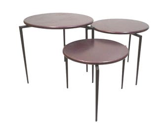 Modern Purple Stacking Side Tripod Nesting Tables Set of 3