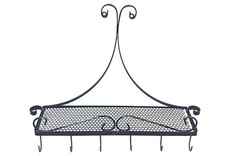Mategot Style Spice Rack Shelf with Utensil Hooks