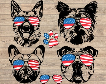 d8b82a9a42a9 Dogs USA Flag Glasses Paw Silhouette SVG Cutting Files ClipArt Studio3 Head  Dog 4th July German shepherd Yorkshire Terrier Bulldog pug 856S