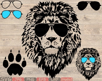 9eb22244197f Lion Head glasses Silhouette SVG Cutting Files Clip Art Studio3 cricut  cuttable Machines cut layer wild animal african king claw zoo 854S