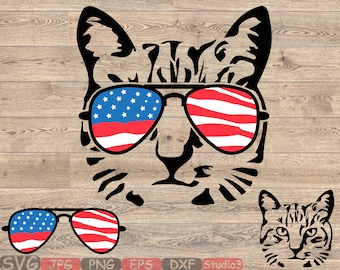 ccc9d847153f Cat USA Flag Glasses Silhouette SVG Cutting Files ClipArt Studio3 cricut  cuttable Machines cut layer Head Farm Kitten kitty 4th July 847S