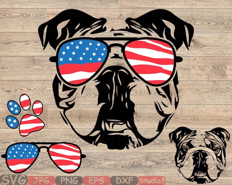 f81058939a0c Bulldog USA Flag Glasses Paw Silhouette SVG Cutting Files