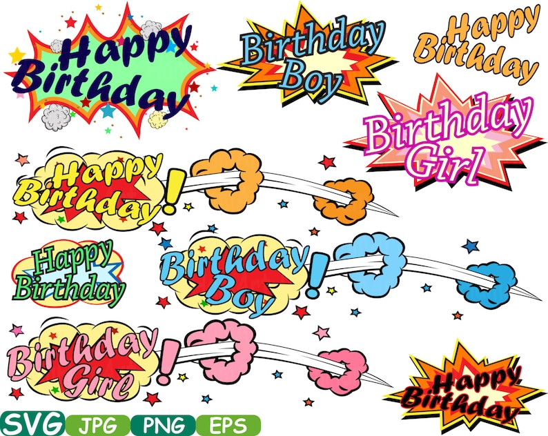 Happy Birthday Comic Book Cutting Files Svg Clipart Etsy