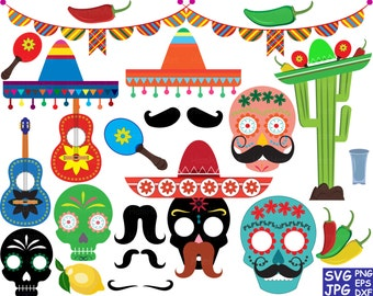Props Fiesta Mexico Bunting banners Dead Monogram Cutting Files Digital file svg eps png dxf jpg Vinyl Antique sale ClipArt Clipart Old -50S