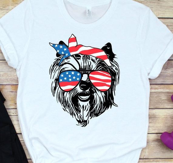 Yorkie Svg 4th Of July Svg Dog With Bandana Usa Flag Etsy