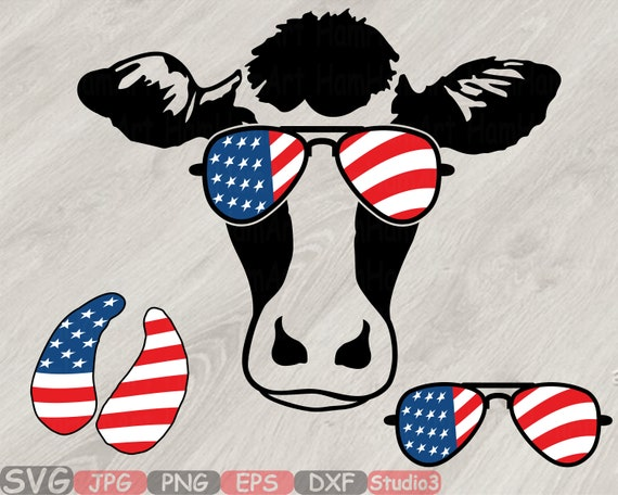 Cow Usa Flag Glasses Silhouette Svg Cutting Files Clip Art Etsy