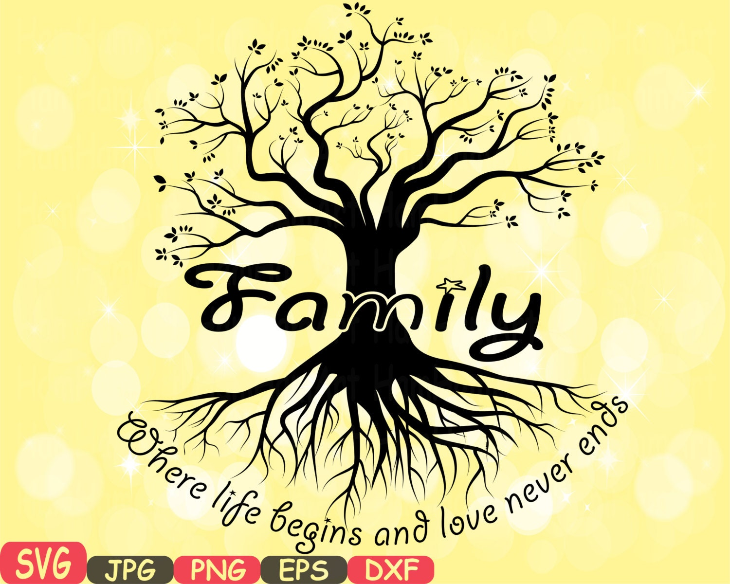 Family SVG Word Art family quote clip art silhouette Family Is | Etsy