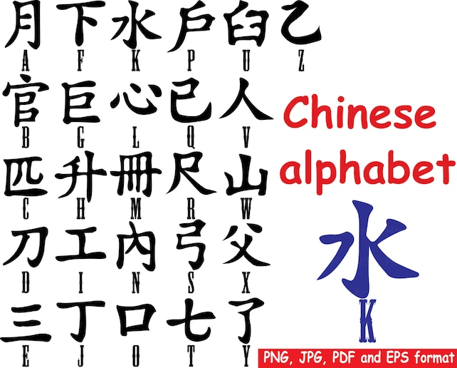 Chinese Alphabet Signs Character Logo Clip Art Png Eps Digital Etsy