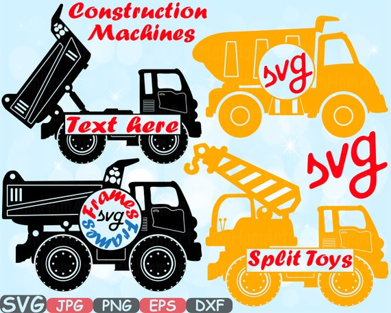 Construction Machines Circle Split Silhouette Svg File Cutting Etsy