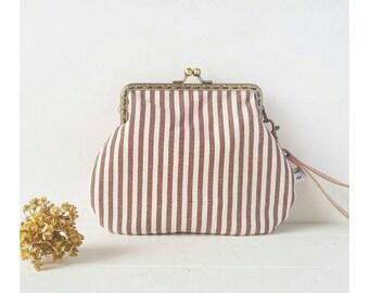 Bag stripes-folk cloth clutches-PhD gift-Vintage wrist handbag-Birthday gift idea-Provencal fabric