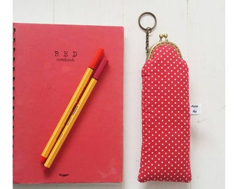 Pencil Case-vintage clutch bag with automatic closure-cotton wallet with polka dots-gift for student-Valentine's Day gift