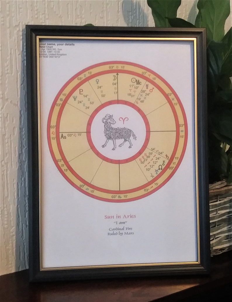 Aries Astrology Birth Chart  Aries Child  printed ready for image 0