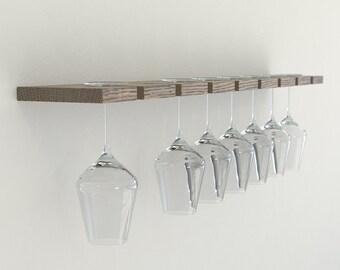 Dark Oak Wall Mounted Wine Glass Rack | Floating Oak Wine Rack