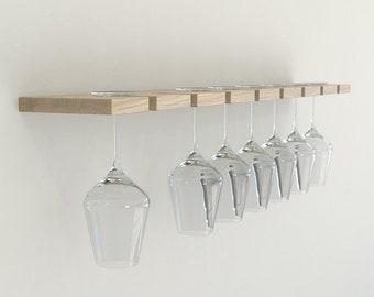 Oiled Oak Wall Mounted Wine Glass Rack | Floating Oak Wine Rack