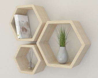 NEW PRODUCT | Set of Three Birch Plywood Hexagon Wall Shelves | Plywood Hexagon Wall Shelves
