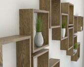 Dark Oak Square Wall Shelf in Solid Oak    Dark Oak Sets of Cube Shelves   Box Shelf