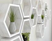 Rustic White Hexagon Wall Shelf in Solid Oak    Rustic White Oak Honeycomb Shelves   Hexagon Shelf