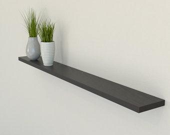 Slimline Black Oak Floating Shelf 120mm Deep | Square Edged Oak Wall Shelves Widths from 40-100cm | Including Floating Shelf Fixings