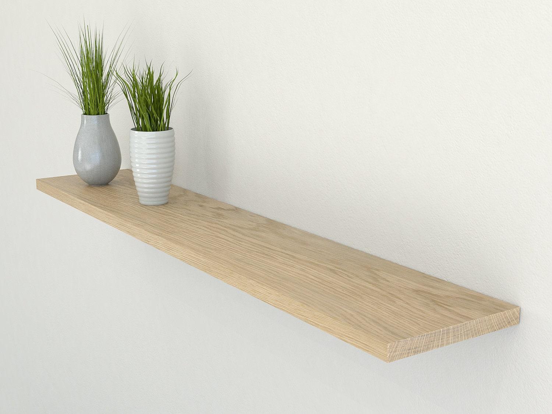 slimline solid oak floating shelf 190mm deep square edged. Black Bedroom Furniture Sets. Home Design Ideas