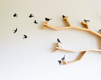 Birds Wall Decals Set for Tree Shelves