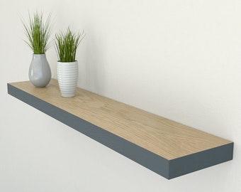 150mm Deep Solid Oak Floating Shelf | Edge Painted Oak Wall Shelves Farrow & Ball | Including Fixings