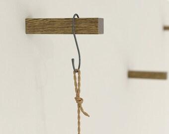 Dark Solid Oak Coat Hooks | Plant Hook | Wall Hooks | Universal Wall Hook