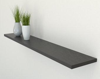 Slimline Black Oak Floating Shelf 190mm Deep | Square Edged Oak Wall Shelves Widths from 40-100cm | Including Floating Shelf Fixings