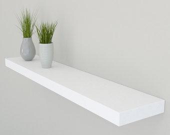 150mm Deep Solid Oak Floating Shelf | Hand Painted Oak Wall Shelves in Farrow & Ball | Including Fixings