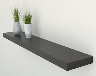 200mm Deep Black Oak Floating Shelf | Square Edged Oak Wall Shelves Widths from 40-100cm | Including Floating Shelf Fixings