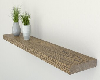 150mm Deep Solid Oak Floating Shelf | Square Edged Dark Oak Wall Shelves | Including Fixings