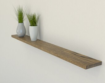 Slimline Dark Oak Floating Shelf 120mm Deep | Square Edged Oak Wall Shelves Widths from 40-100cm | Including Floating Shelf Fixings