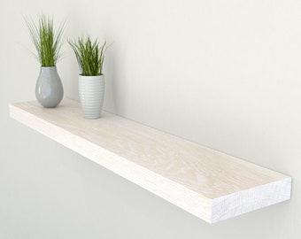 150mm Deep Solid Oak Floating Shelf | Square Edged Limed Oak Wall Shelves | Including Fixings