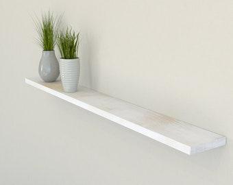Slimline Rustic White Oak Floating Shelf 120mm Deep | Square Edged Oak Wall Shelves Widths from 40-100cm | Including Floating Shelf Fixings