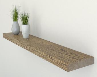 200mm Deep Solid Dark Oak Floating Shelf | Square Edged Oak Wall Shelves Widths from 40-100cm | Including Floating Shelf Fixings