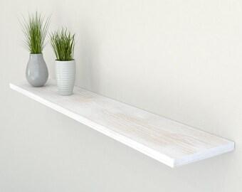 Slimline Rustic White Oak Floating Shelf 190mm Deep | Square Edged Oak Wall Shelves Widths from 40-100cm | Including Floating Shelf Fixings