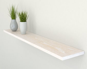 Slimline Limed Oak Floating Shelf 190mm Deep | Square Edged Oak Wall Shelves Widths from 40-100cm | Including Floating Shelf Fixings