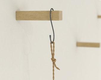 Oiled Solid Oak Coat Hooks | Plant Hook | Wall Hooks | Universal Wall Hook