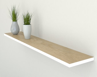 Slimline Edge Painted Oak Floating Shelf 190mm Deep | Square Edged Oak Wall Shelves Widths from 40-100cm | Including Floating Shelf Fixings